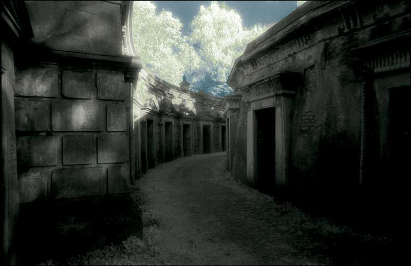 Egyptian Avenue in Highgate Cemetery, London