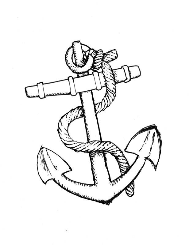 Small Anchor Drawing Navy Anchor With Rope Drawing