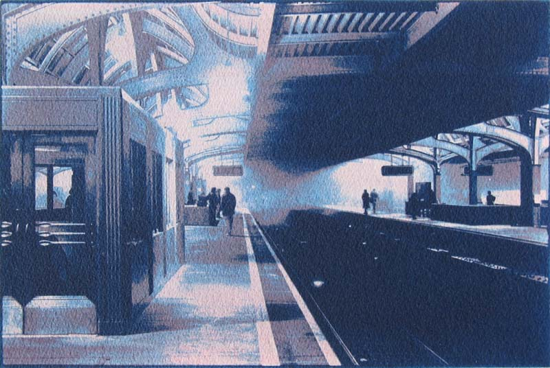 Philadelphia Train Station Gum Bichromate over Cyanotype